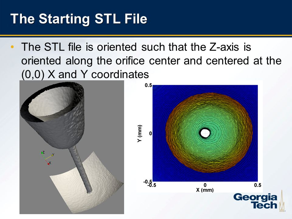 3 The Starting STL File The STL file is oriented such that the Z-axis is oriented along the orifice center and centered at the (0,0) X and Y coordinates