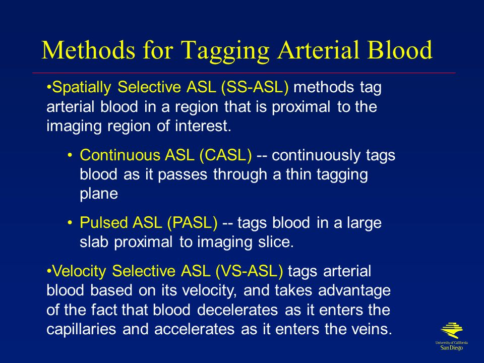 Arterial Spin Labeling Magnetically tag inflowing arterial blood Wait for tagged blood to flow into imaging slice Acquire image of tissue+tagged blood Apply control pulse that doesn't tag blood Acquire control image of tissue Control image-tag image = blood image