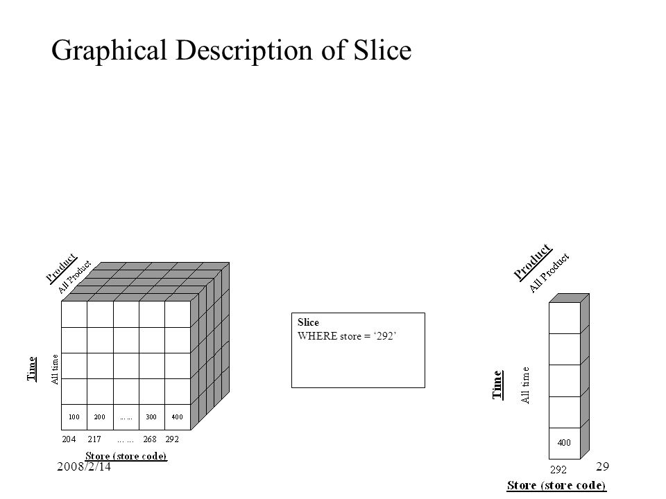 2008/2/1429 Graphical Description of Slice Slice WHERE store = '292'