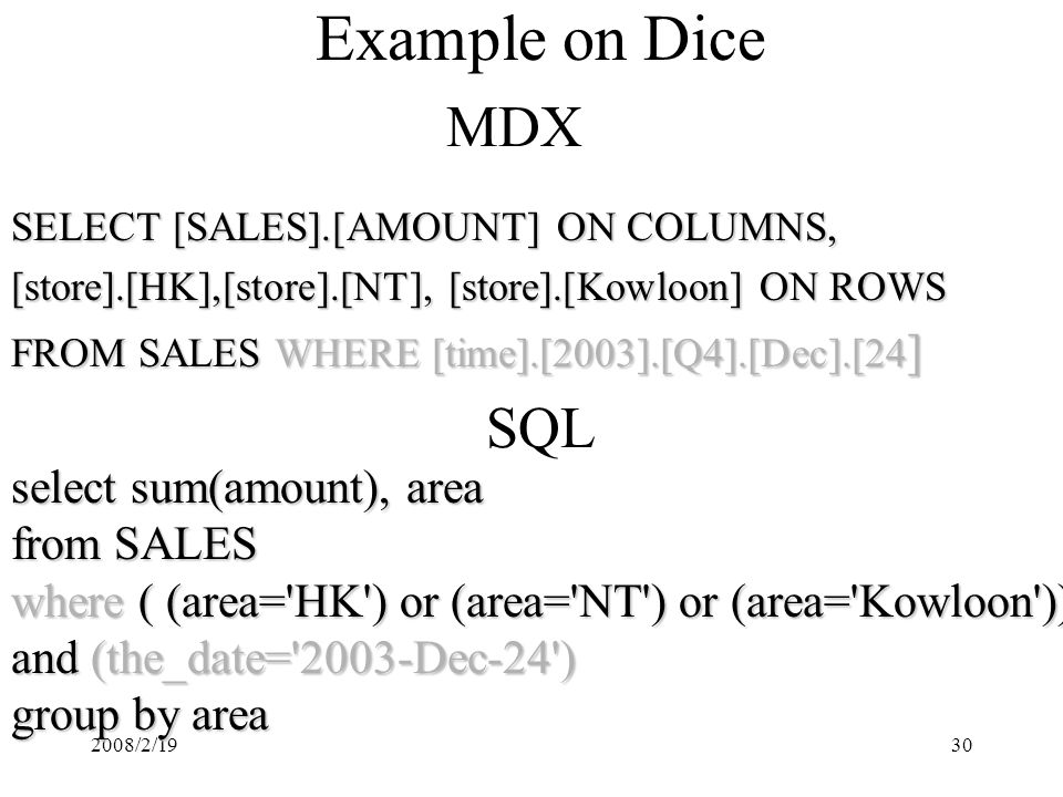 2008/2/1930 Example on Dice MDX SQL SELECT [SALES].[AMOUNT] ON COLUMNS, [store].[HK],[store].[NT], [store].[Kowloon] ON ROWS FROM SALES WHERE [time].[2003].[Q4].[Dec].[24 ] select sum(amount), area from SALES where ( (area= HK ) or (area= NT ) or (area= Kowloon )) and (the_date= 2003-Dec-24 ) group by area