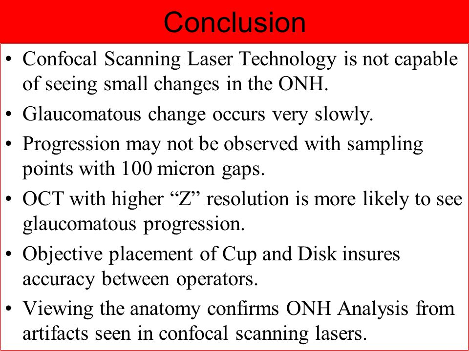 Conclusion Confocal Scanning Laser Technology is not capable of seeing small changes in the ONH.