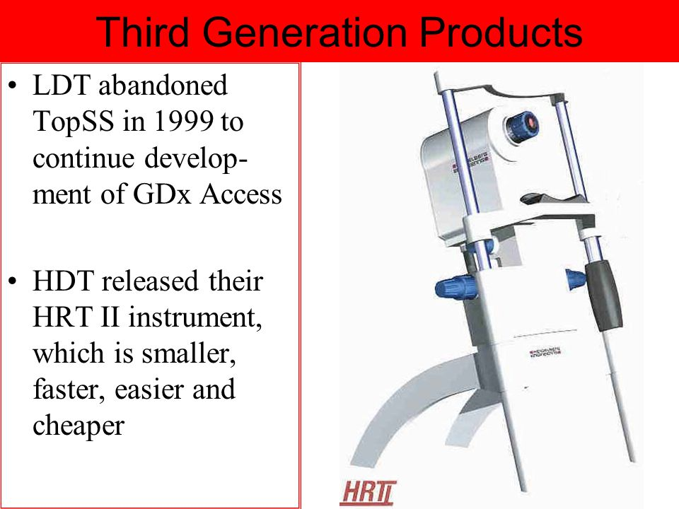Third Generation Products LDT abandoned TopSS in 1999 to continue develop- ment of GDx Access HDT released their HRT II instrument, which is smaller, faster, easier and cheaper