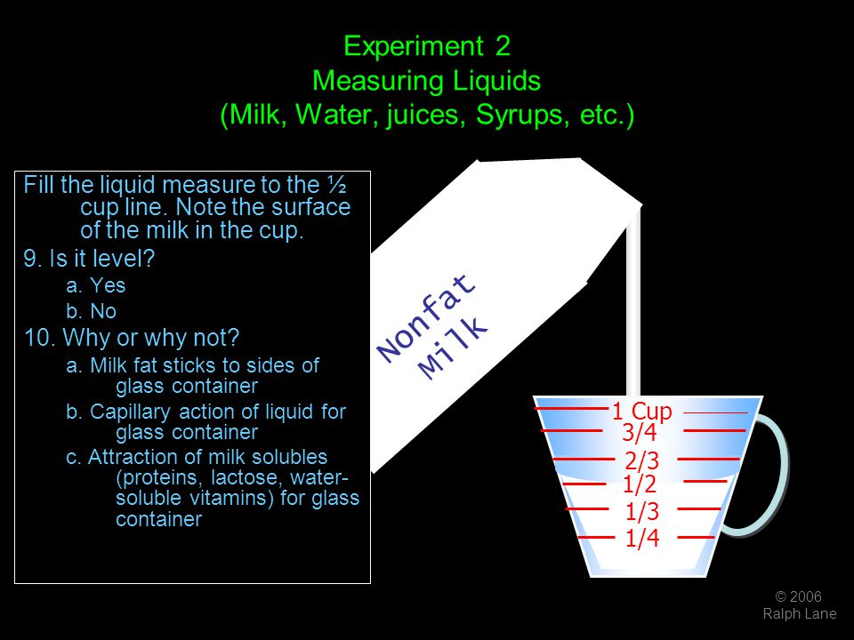 © 2006 Ralph Lane Nonfat Milk Experiment 2 Measuring Liquids (Milk, Water, juices, Syrups, etc.) Fill the liquid measure to the ½ cup line. Note the s