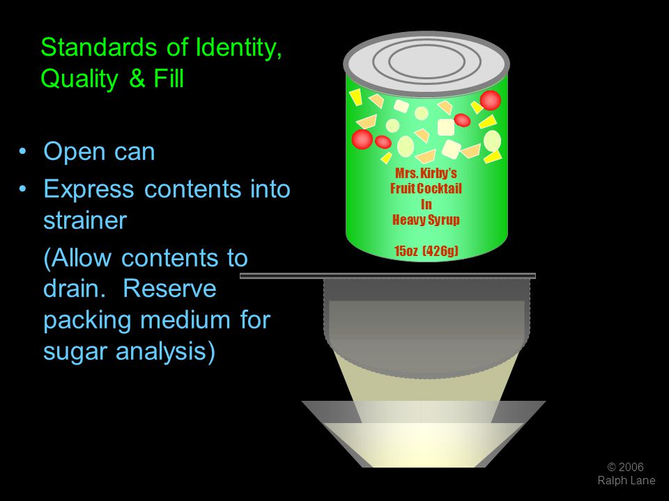 © 2006 Ralph Lane Standards of Identity, Quality & Fill Open can Express contents into strainer (Allow contents to drain. Reserve packing medium for s
