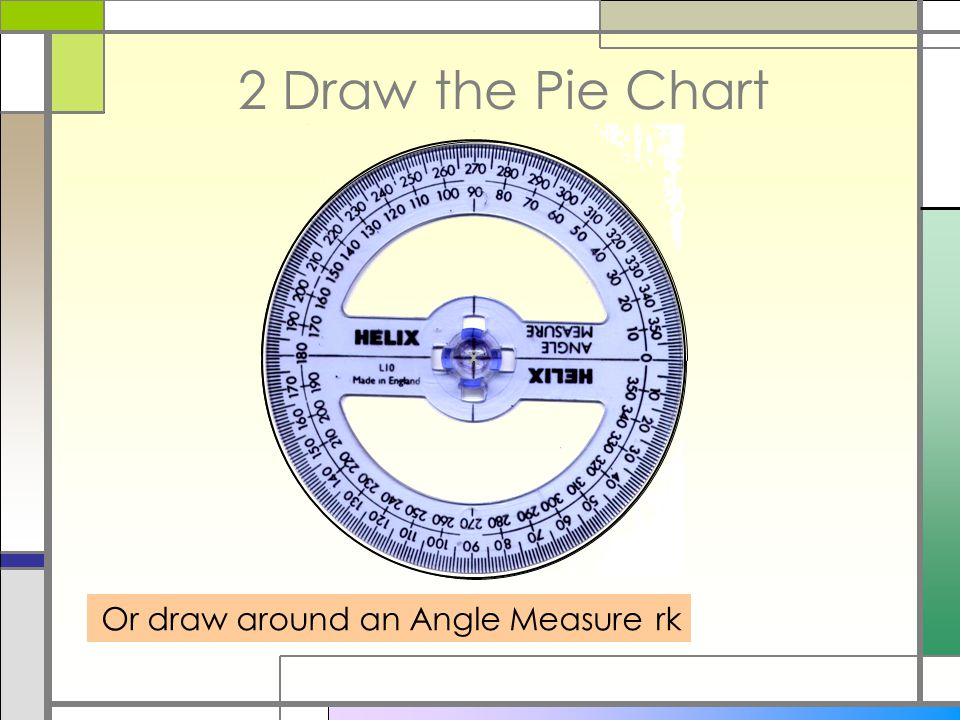 2 Draw the Pie Chart Draw line vertically from centre to circumference Draw LARGEST slice first i.e.