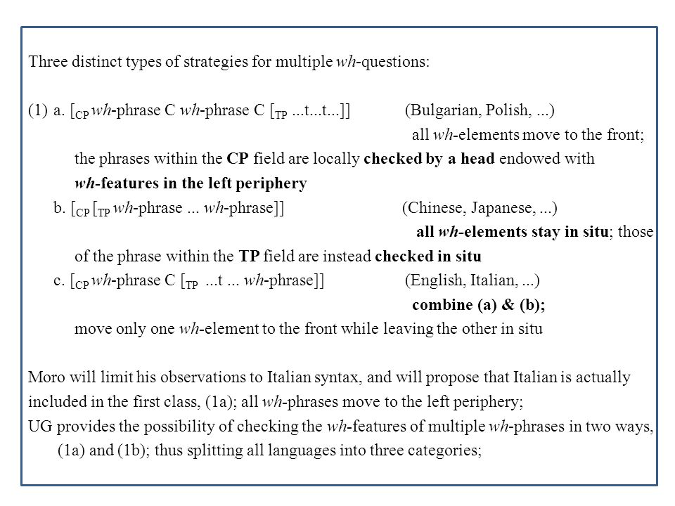 Three distinct types of strategies for multiple wh-questions: (1)a. [ CP wh-phrase C wh-phrase C [ TP...t...t...]] (Bulgarian, Polish,...) all wh-elem