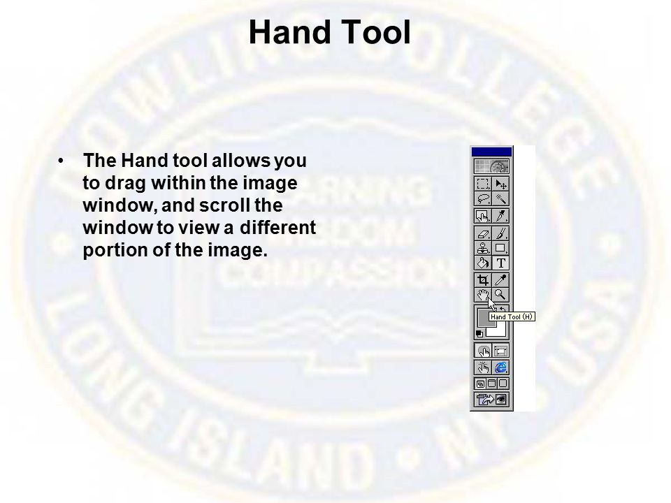 Hand Tool The Hand tool allows you to drag within the image window, and scroll the window to view a different portion of the image.