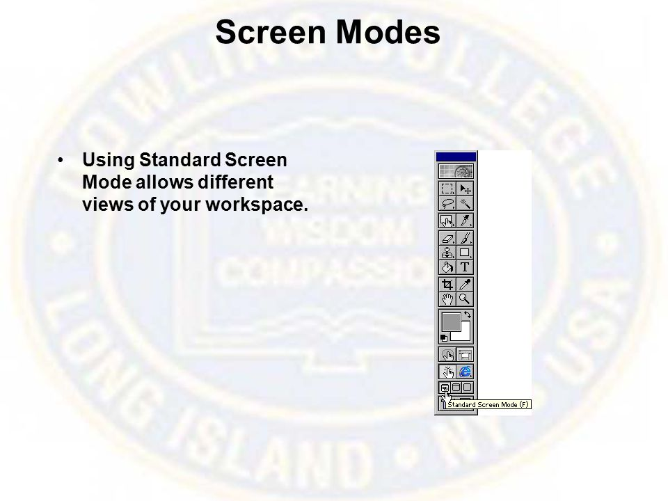 Screen Modes Using Standard Screen Mode allows different views of your workspace.