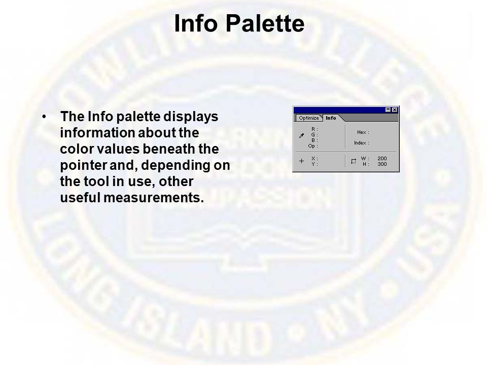 Info Palette The Info palette displays information about the color values beneath the pointer and, depending on the tool in use, other useful measurements.
