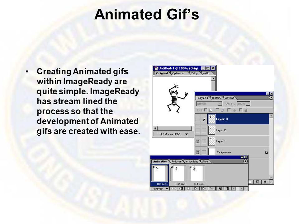 Animated Gif's Creating Animated gifs within ImageReady are quite simple.