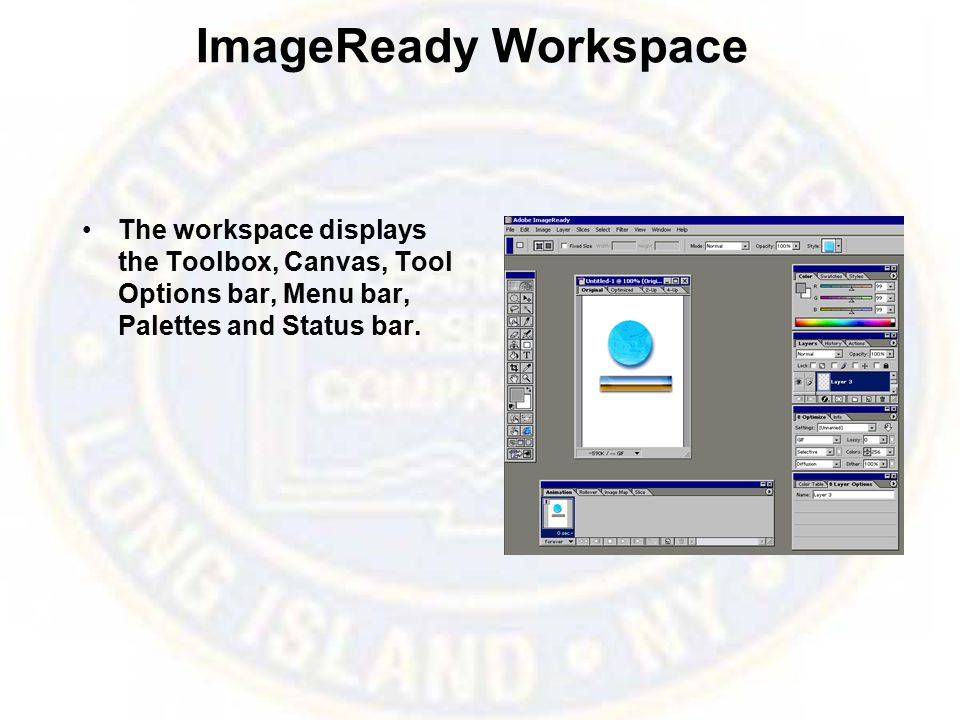 ImageReady Workspace The workspace displays the Toolbox, Canvas, Tool Options bar, Menu bar, Palettes and Status bar.