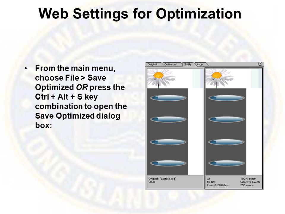Web Settings for Optimization From the main menu, choose File > Save Optimized OR press the Ctrl + Alt + S key combination to open the Save Optimized dialog box: