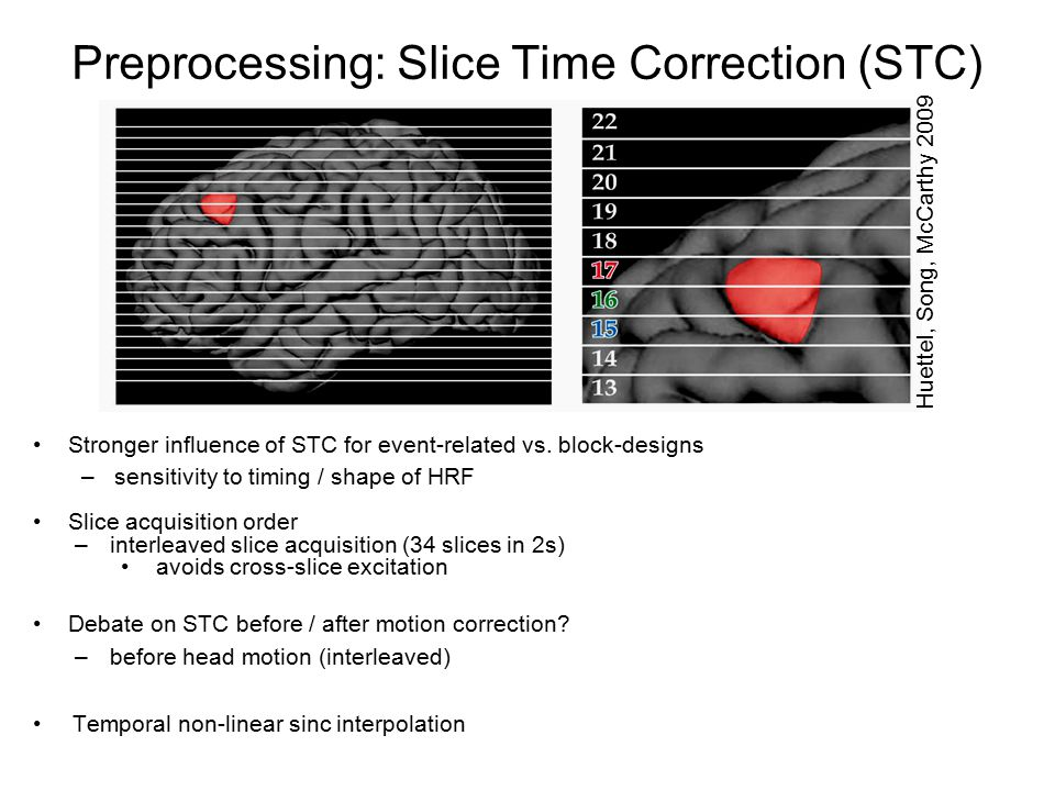 Preprocessing: Slice Time Correction (STC) Stronger influence of STC for event-related vs.