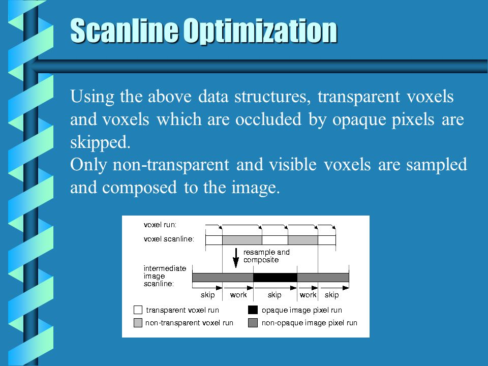 Scanline Optimization Using the above data structures, transparent voxels and voxels which are occluded by opaque pixels are skipped.