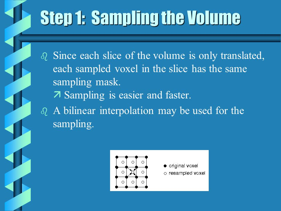 Step 2: Composing the slices b The slices are composed together front to back, as in ray casting algorithms.