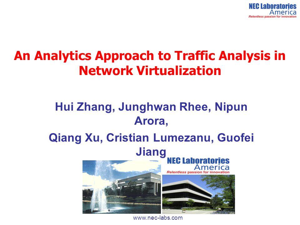 An Analytics Approach to Traffic Analysis in Network Virtualization Hui Zhang, Junghwan Rhee, Nipun Arora, Qiang Xu, Cristian Lumezanu, Guofei Jiang w