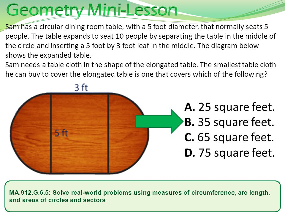 MA.912.G.6.5: Solve real-world problems using measures of circumference, arc length, and areas of circles and sectors. Sam has a circular dining room
