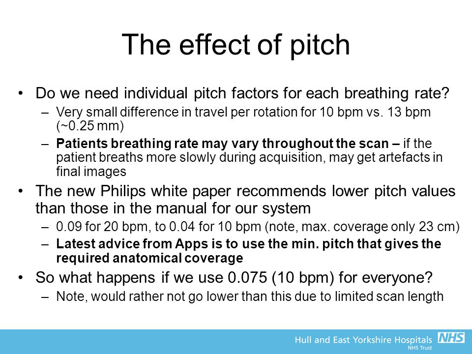 The effect of pitch Do we need individual pitch factors for each breathing rate.