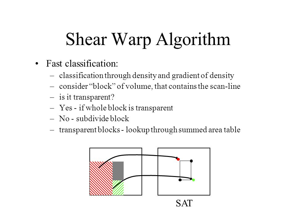 "Shear Warp Algorithm Fast classification: –classification through density and gradient of density –consider ""block"" of volume, that contains the scan-"