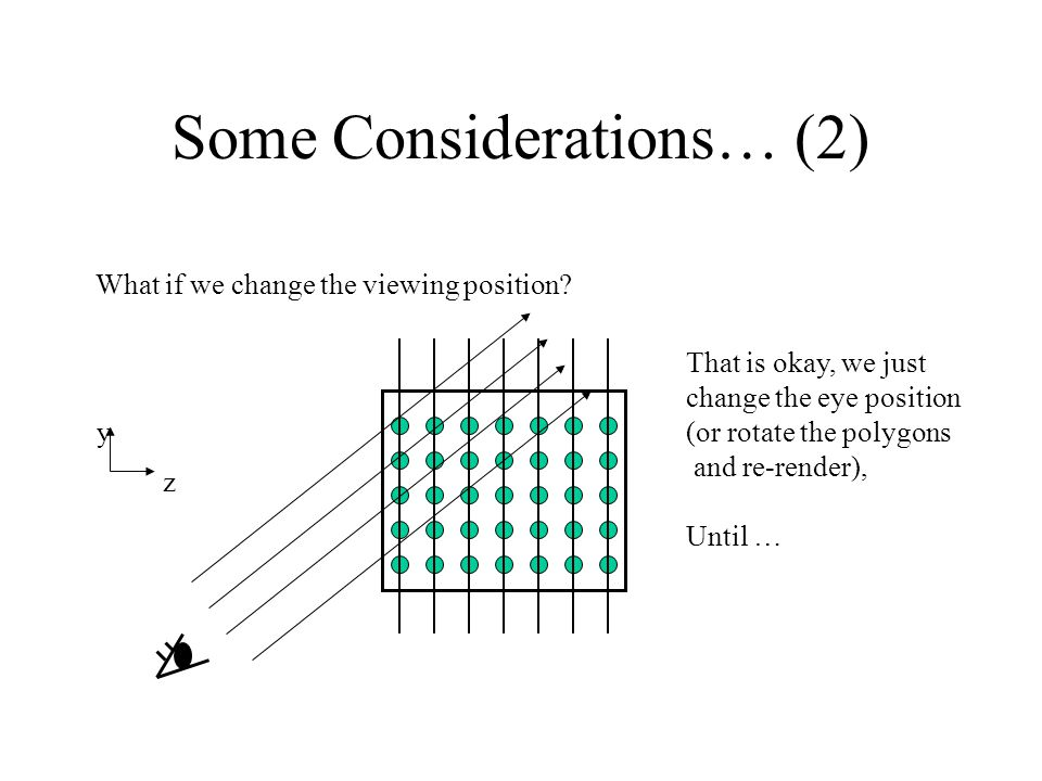 Some Considerations… (2) What if we change the viewing position? That is okay, we just change the eye position (or rotate the polygons and re-render),