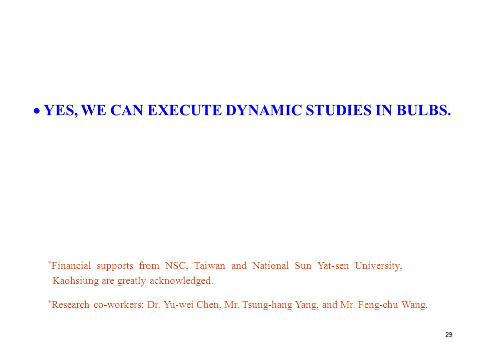 29  YES, WE CAN EXECUTE DYNAMIC STUDIES IN BULBS.