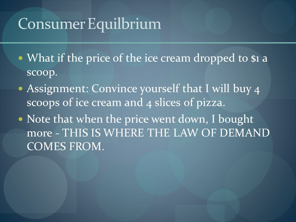 Consumer Equilbrium What if the price of the ice cream dropped to $1 a scoop.