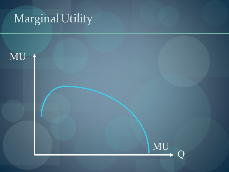 Shape of MU Eventually downward sloping Law of diminishing marginal utility Positive always Rational behavior  Consumer only purchases a good if they get some positive utility from it.