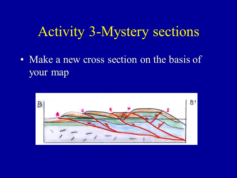 Activity 3-Mystery sections Make a new cross section on the basis of your map