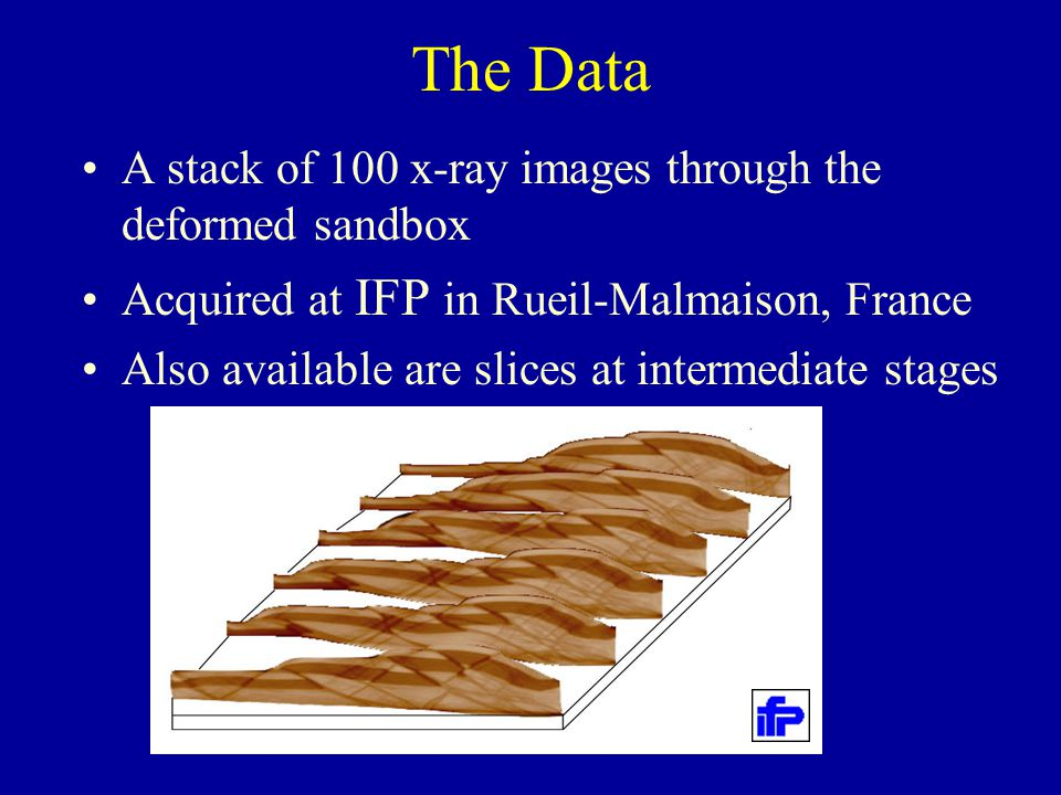 The Data A stack of 100 x-ray images through the deformed sandbox Acquired at IFP in Rueil-Malmaison, France Also available are slices at intermediate