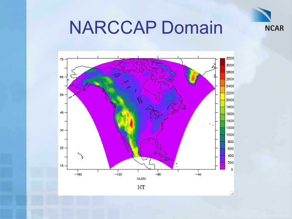 Organization of Program Phase I: 25-year simulations using NCEP-Reanalysis boundary conditions (1979—2004) Phase II: Climate Change Simulations –Phase IIa: RCM runs (50 km res.) nested in AOGCMs current and future –Phase IIb: Time-slice experiments at 50 km res.