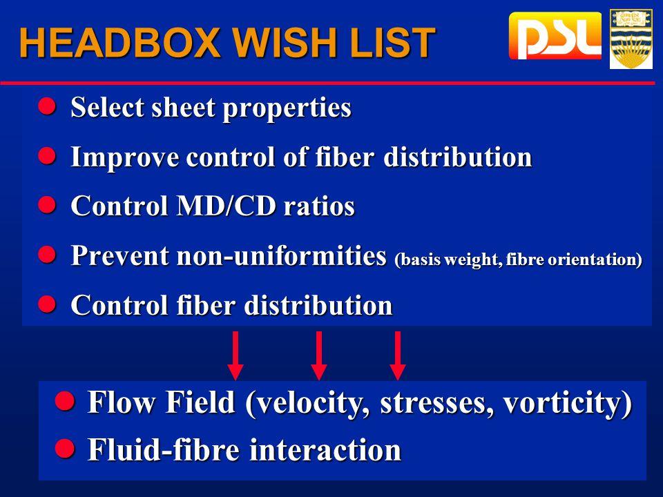 HEADBOX WISH LIST lSelect sheet properties lImprove control of fiber distribution lControl MD/CD ratios lPrevent non-uniformities (basis weight, fibre orientation) lControl fiber distribution lFlow Field (velocity, stresses, vorticity) lFluid-fibre interaction