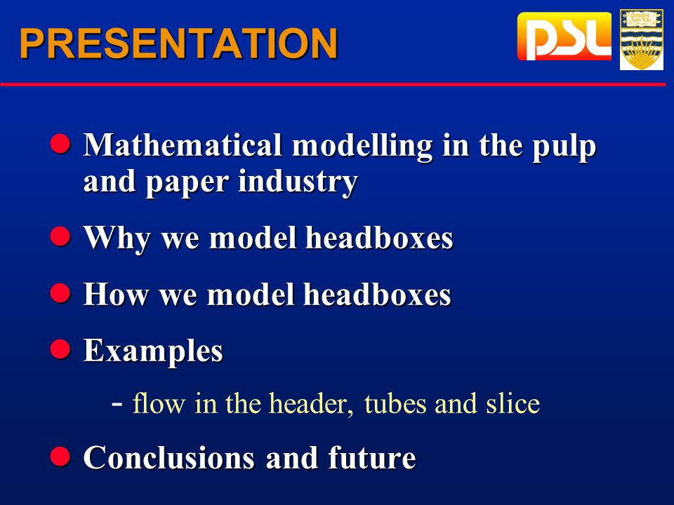 PRESENTATION lMathematical modelling in the pulp and paper industry lWhy we model headboxes lHow we model headboxes lExamples - flow in the header, tubes and slice lConclusions and future