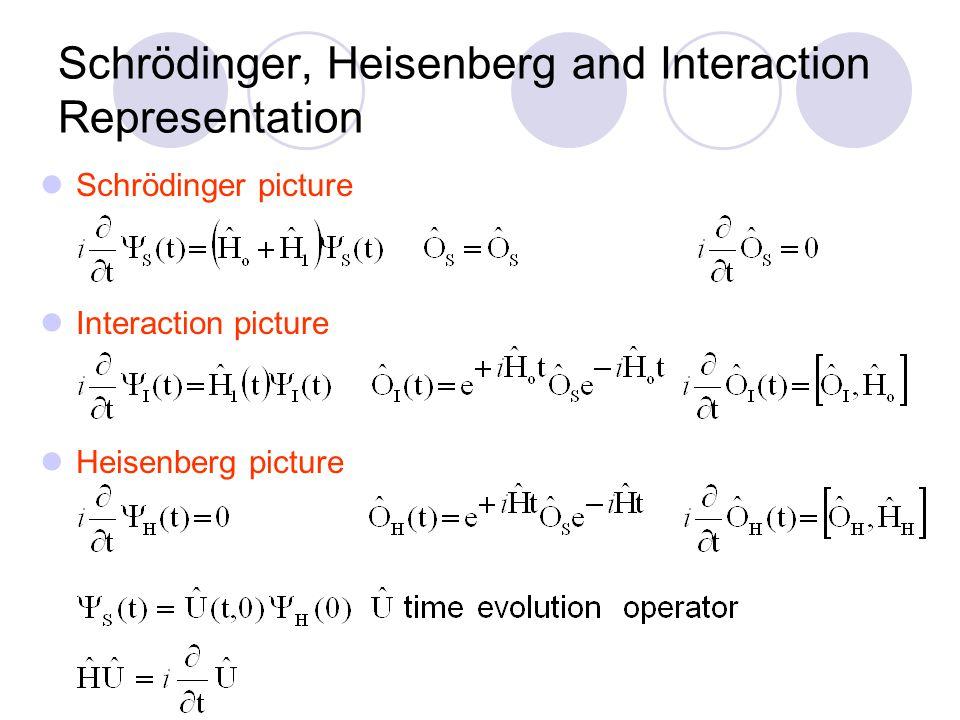 Schrödinger, Heisenberg and Interaction Representation Schrödinger picture Interaction picture Heisenberg picture