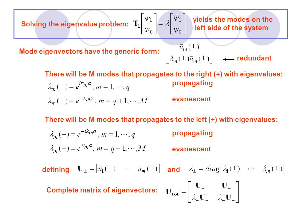 Transfer matrix equation for translation across entire system Transmission matrix Zero matrix no waves incident from right Unit matrix waves incident from left have unit amplitude reflection matrix Converts from mode basis to site basis Converts back to mode basis Recall: In general, the velocities must be determined numerically