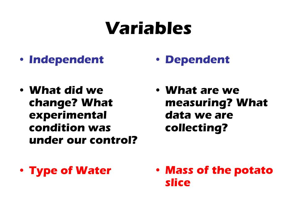 Variables Independent What did we change? What experimental condition was under our control? Type of Water Dependent What are we measuring? What data