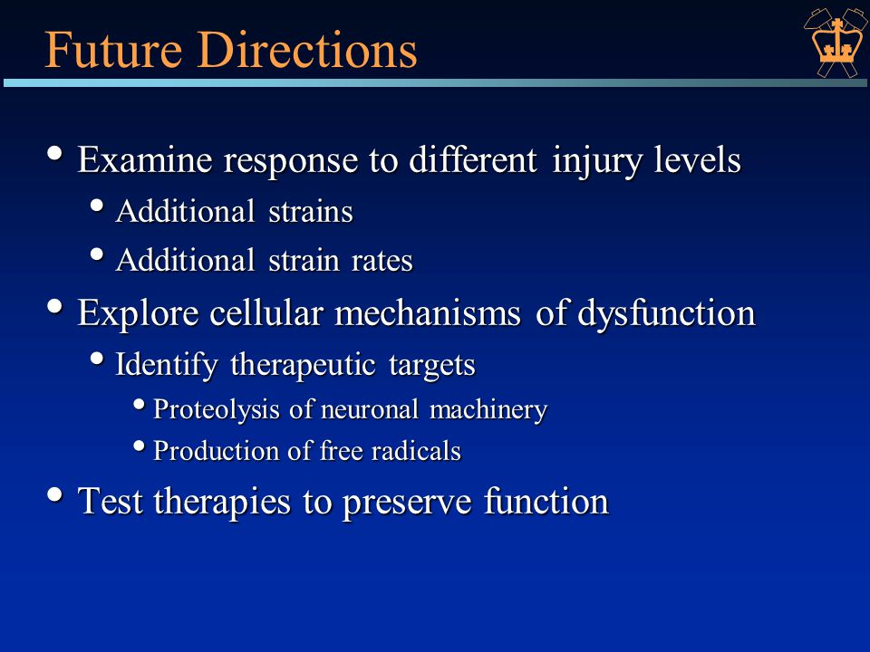 Future Directions Examine response to different injury levels Examine response to different injury levels Additional strains Additional strains Additional strain rates Additional strain rates Explore cellular mechanisms of dysfunction Explore cellular mechanisms of dysfunction Identify therapeutic targets Identify therapeutic targets Proteolysis of neuronal machinery Proteolysis of neuronal machinery Production of free radicals Production of free radicals Test therapies to preserve function Test therapies to preserve function