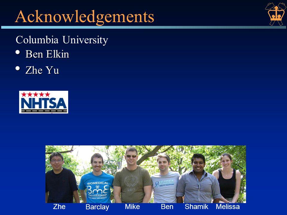 Acknowledgements Ben Elkin Ben Elkin Zhe Yu Zhe Yu Columbia University ZheMikeBenShamikMelissa Barclay