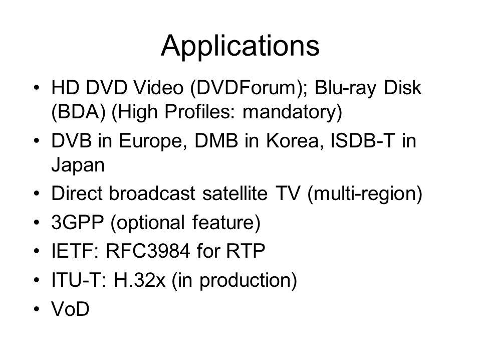 Applications HD DVD Video (DVDForum); Blu-ray Disk (BDA) (High Profiles: mandatory) DVB in Europe, DMB in Korea, ISDB-T in Japan Direct broadcast satellite TV (multi-region) 3GPP (optional feature) IETF: RFC3984 for RTP ITU-T: H.32x (in production) VoD