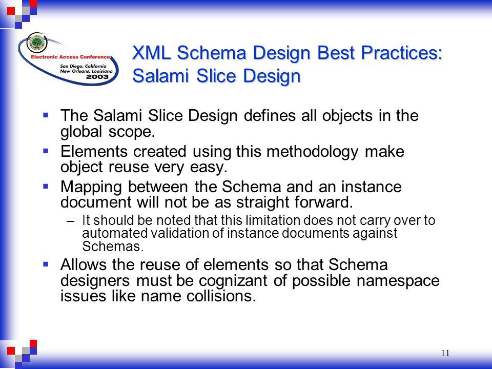 11 XML Schema Design Best Practices: Salami Slice Design  The Salami Slice Design defines all objects in the global scope.