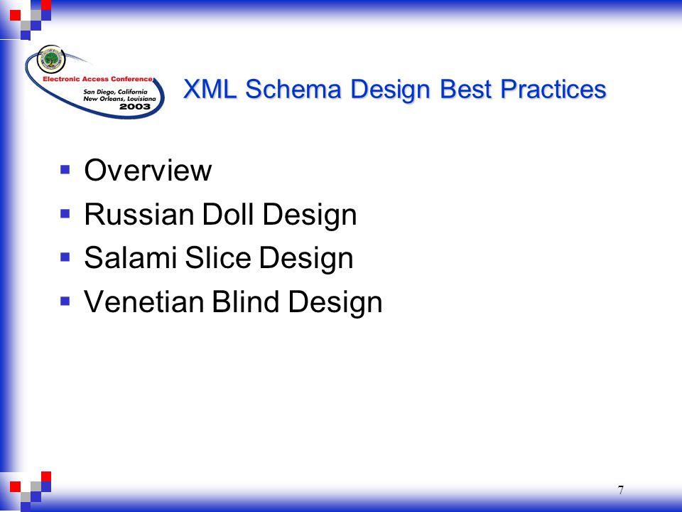 7 XML Schema Design Best Practices  Overview  Russian Doll Design  Salami Slice Design  Venetian Blind Design