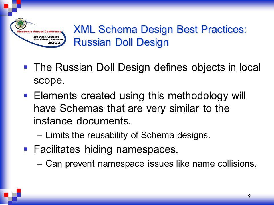 9 XML Schema Design Best Practices: Russian Doll Design  The Russian Doll Design defines objects in local scope.