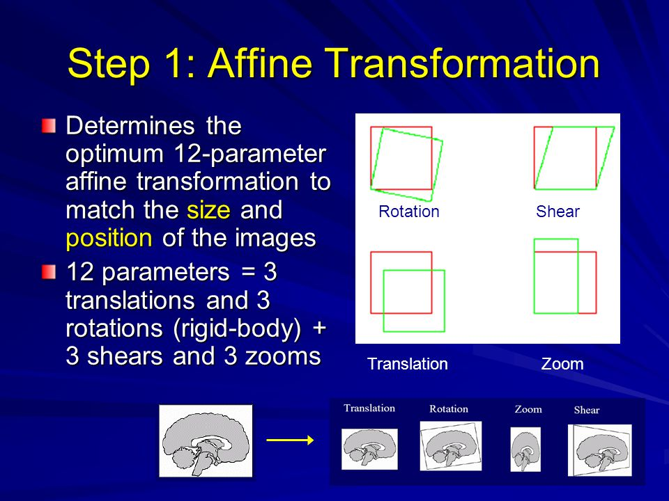 Step 1: Affine Transformation Determines the optimum 12-parameter affine transformation to match the size and position of the images 12 parameters = 3 translations and 3 rotations (rigid-body) + 3 shears and 3 zooms RotationShear TranslationZoom