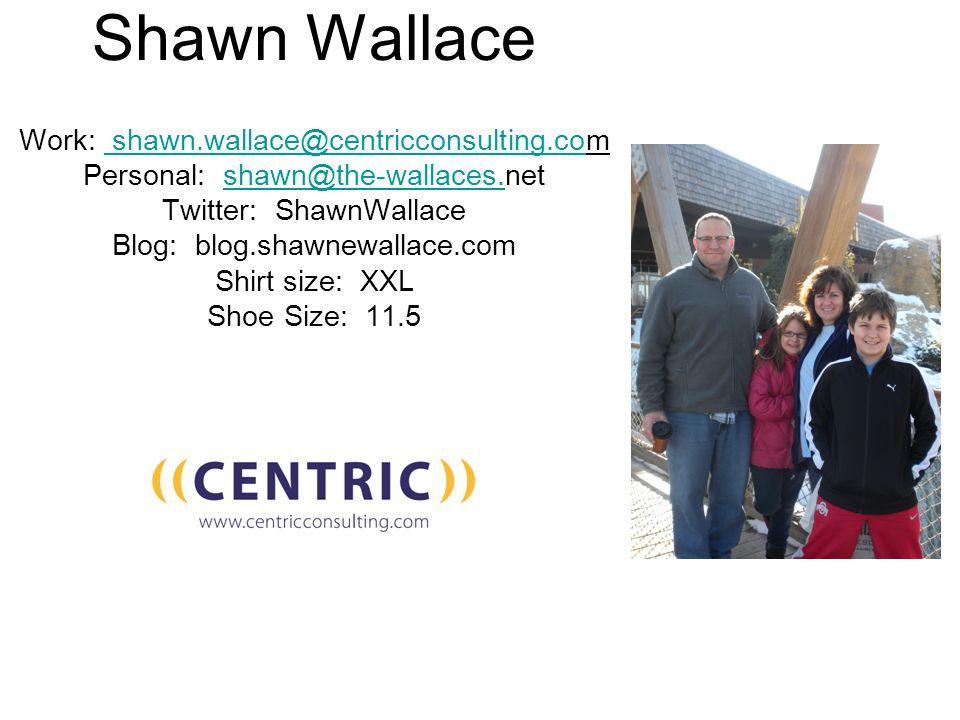 Shawn Wallace Work: shawn.wallace@centricconsulting.com shawn.wallace@centricconsulting.co Personal: shawn@the-wallaces.netshawn@the-wallaces.