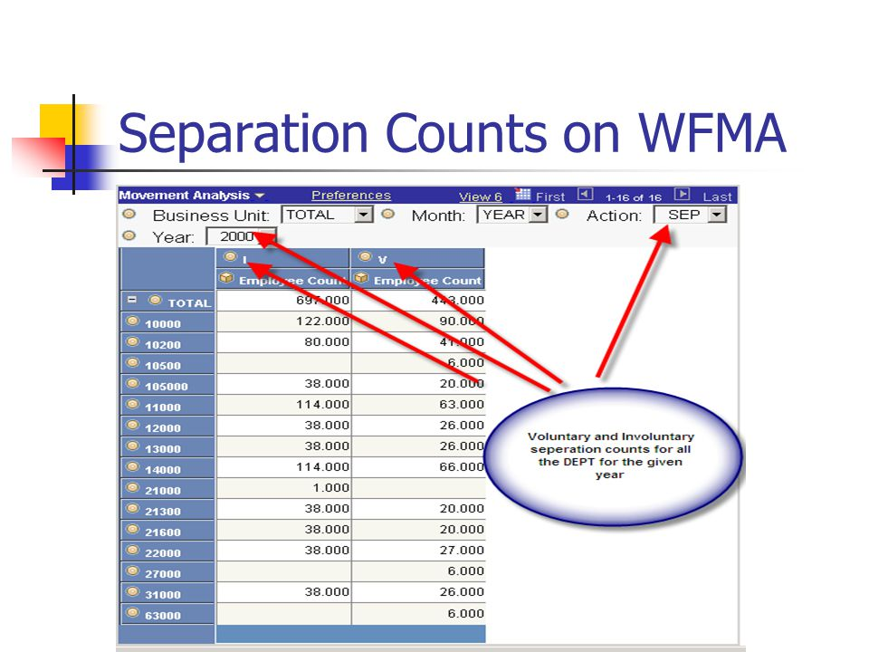 Separation Counts on WFMA