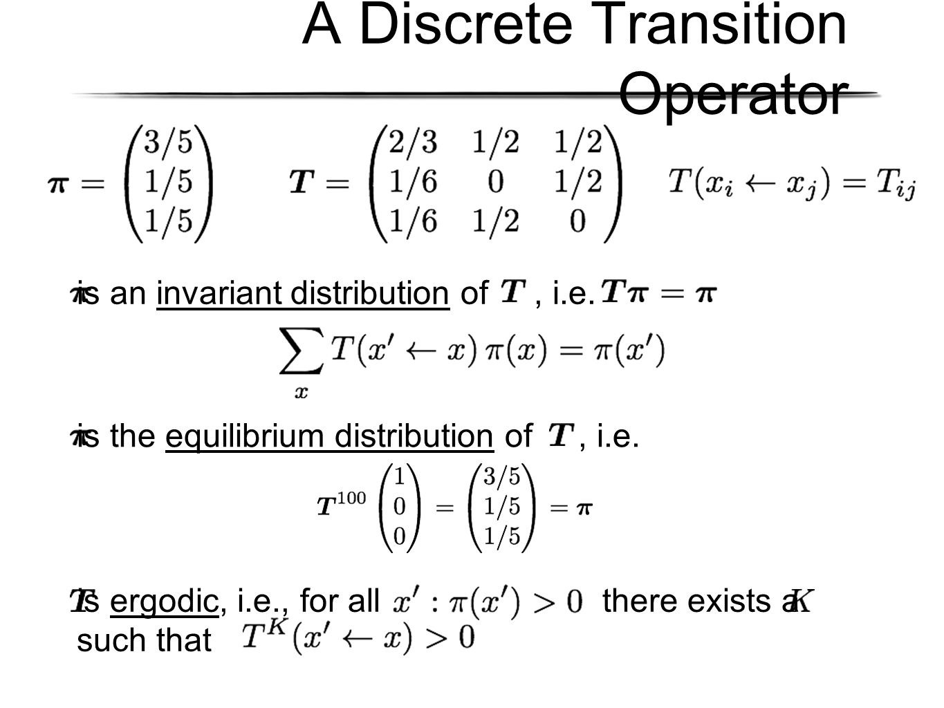 A Discrete Transition Operator is an invariant distribution of, i.e.