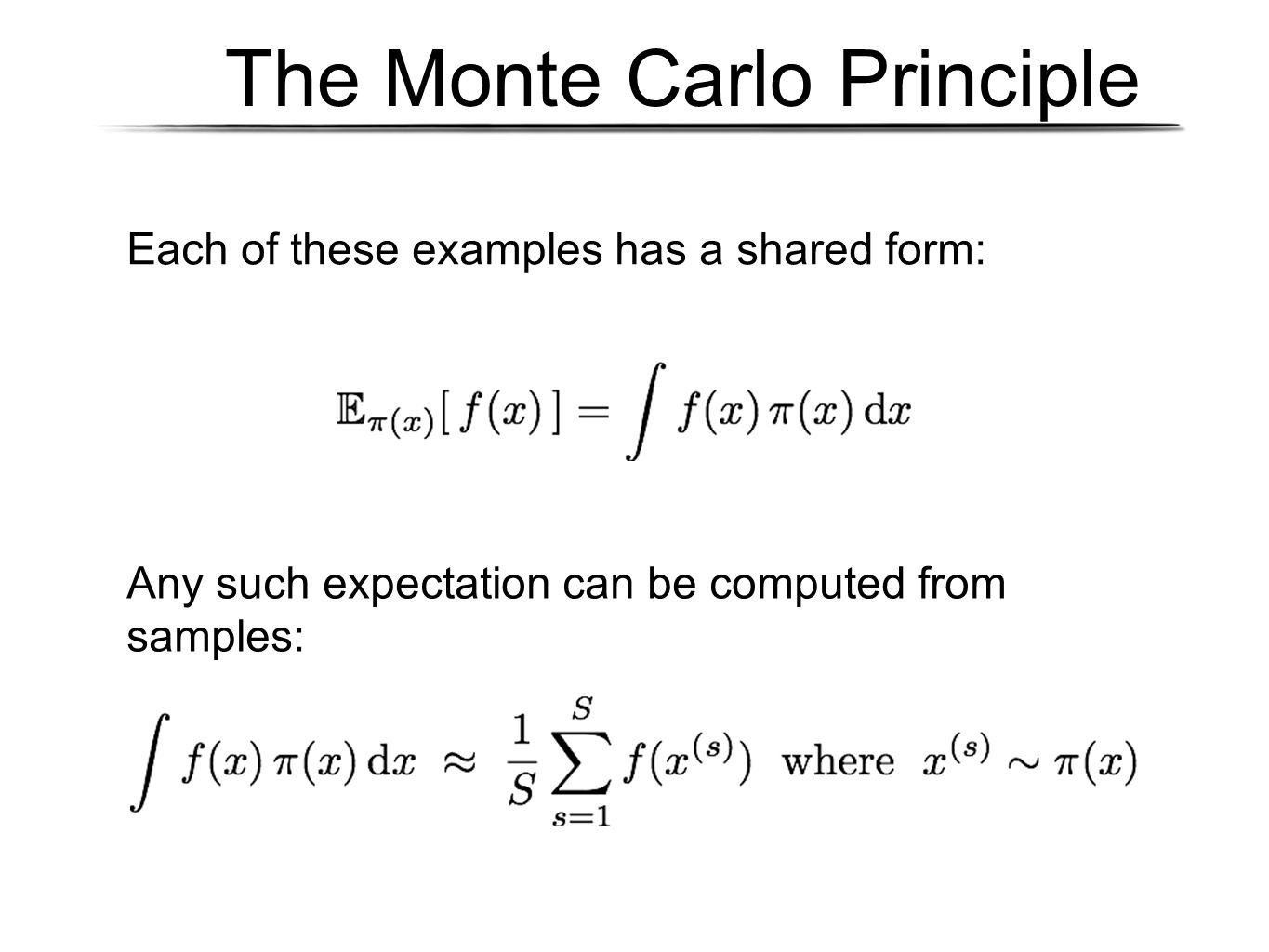 The Monte Carlo Principle Each of these examples has a shared form: Any such expectation can be computed from samples: