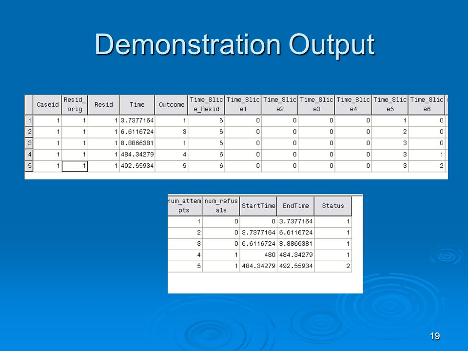 19 Demonstration Output