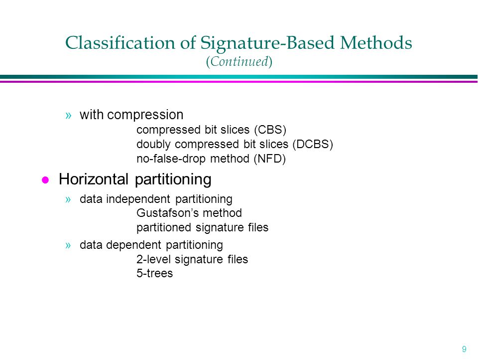 20 FSSF ( Continued ) l Example (n=2, B=12, s=6, f=2, m=3) WordSignature free000000 110010 text010110 000000 doc.