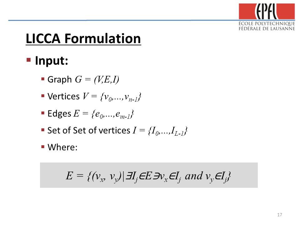 LICCA Formulation  Input:  Graph G = (V,E,I)  Vertices V = {v 0,...,v n-1 }  Edges E = {e 0,...,e m-1 }  Set of Set of vertices I = {I 0,...,I L-1 }  Where: E = {(v x, v y )| ∃ I j ∈ E ∋ v x ∈ I j and v y ∈ I j } 17