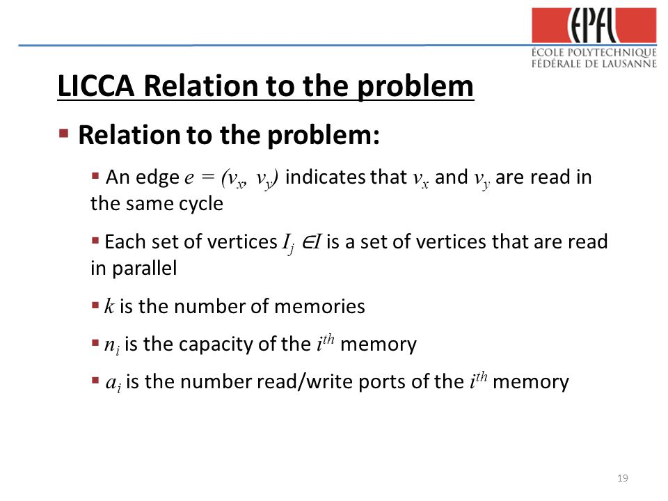 LICCA Relation to the problem  Relation to the problem:  An edge e = (v x, v y ) indicates that v x and v y are read in the same cycle  Each set of vertices I j ∈ I is a set of vertices that are read in parallel  k is the number of memories  n i is the capacity of the i th memory  a i is the number read/write ports of the i th memory 19